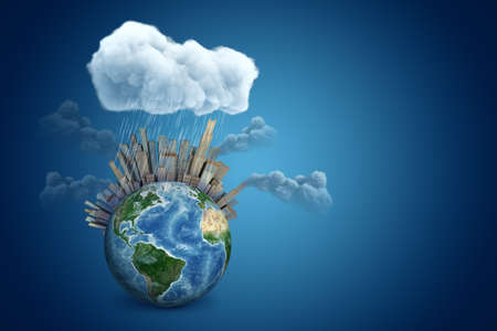 3d rendering of planet Earth with high-rises and smoking factories, under raining cloud on blue gradient background with copy space. Banco de Imagens