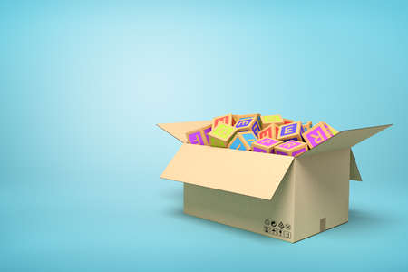 3d rendering of ABC blocks in carton box on blue background. Banco de Imagens