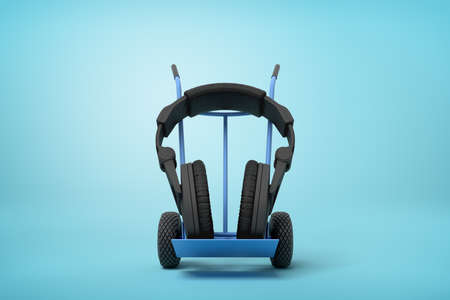 3d rendering of black headphones on a hand truck on blue background