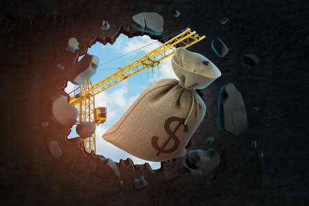 3d rendering of hoisting crane carrying canvas bag with dollar symbol on and breaking wall leaving hole in it with blue sky seen through.