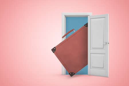 3d rendering of brown leather suitcase in white open doorway on light pink background