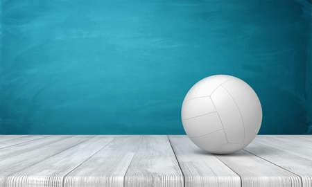 3d rendering of a white volleyball lying on wooden surface near blue wall with copy space.