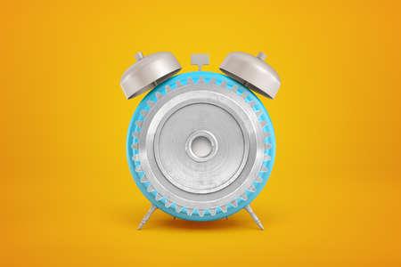 3d rendering of gear wheel in blue alarm clock on yellow background Stock fotó - 129486360