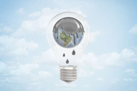 3d closeup rendering of light bulb with Earth globe inside, its top covered in thick grey liquid dripping down, against blue sky with clouds.