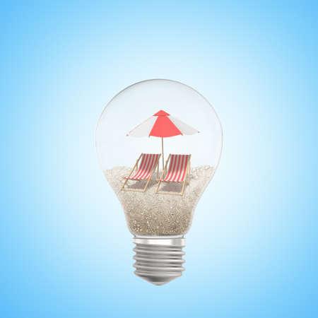 3d rendering of light bulb with sand, beach umbrella inside, on light-blue background.