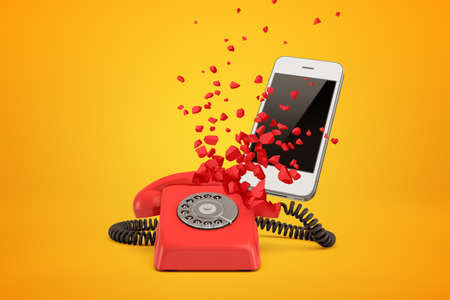Rendu 3D du téléphone à fil rouge se brisant en morceaux et smartphone moderne blanc derrière lui sur fond ambre.