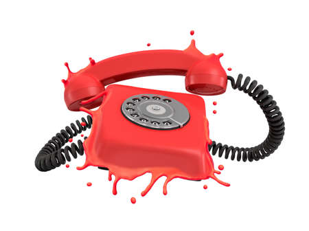 3d close-up rendering of red ringing rotary phone, its plastic case melting and splashing around, isolated on white background. Фото со стока
