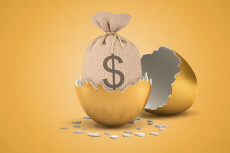 3d rendering of money sack hatching out of golden egg on yellow background 스톡 콘텐츠