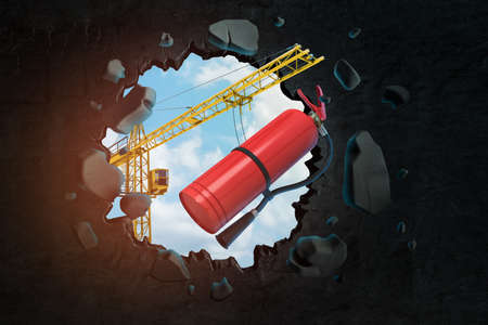 3d rendering of construction crane and red foam fire extinguisher breaking black wall