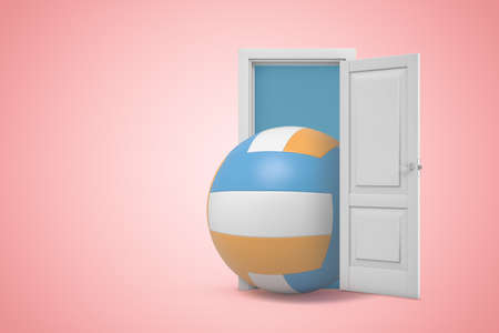 3d rendering of huge volleyball emerging from open door on pink gradient copy space background.