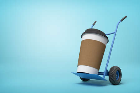 3d close-up rendering of huge paper coffee cup on blue hand truck on light-blue background.