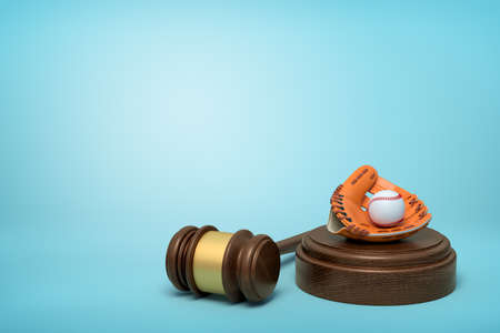3d rendering of baseball and baseball glove lying on sounding block with judge gavel beside on light-blue background.