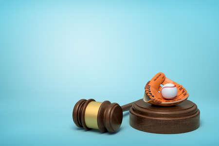 3d rendering of baseball and baseball glove lying on sounding block with judge gavel beside on light-blue background.