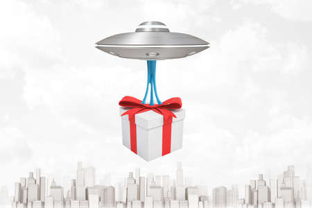 3d rendering of silver metal UFO carrying gift box on white city skyscrapers background