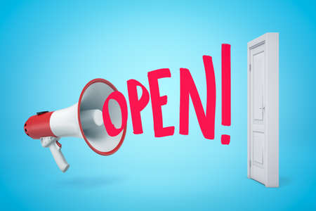 3d rendering of red and white megaphone with OPEN sign and white doorway on blue background