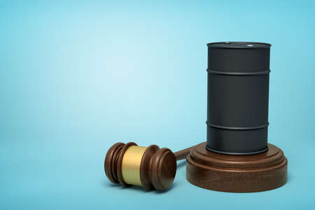 3d rendering of black fuel barrel on round wooden block and brown wooden gavel on blue background Imagens