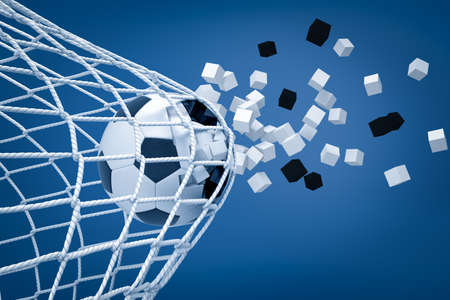 3d rendering of football ball shattering into pieces while breaking through football gate net on blue background