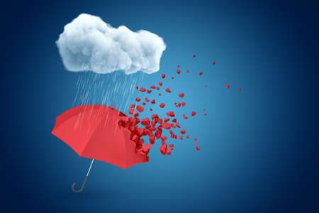 3d rendering of red umbrella that started to break into small pieces, floating in air under raining cloud on blue background. Banco de Imagens