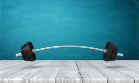 3d rendering of metal training bar-bell on white wooden floor and dark turquoise background