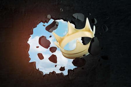 3d rendering of golden crown breaking black wall