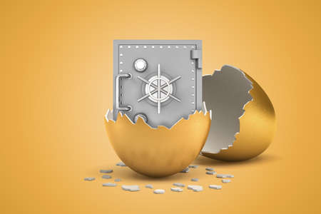 3d rendering of closed light-grey safe that just hatched out from golden egg.