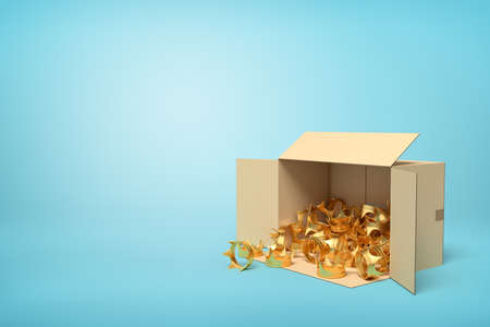 3d rendering of open cardboard box lying sidelong full of golden crowns on light-blue background with much copy space.