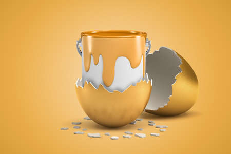 3d rendering of open can full of golden paint that just hatched out from golden egg.