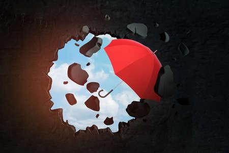 3d rendering of red umbrella breaking black wall