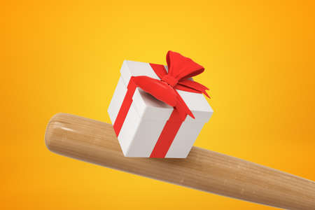 3d close-up rendering of baseball bat hitting white gift box tied with beautiful red ribbon on amber background. Banco de Imagens