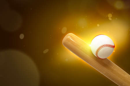 3d close-up rendering of bat hitting baseball on gold-brown gradient bokeh background with copy space.