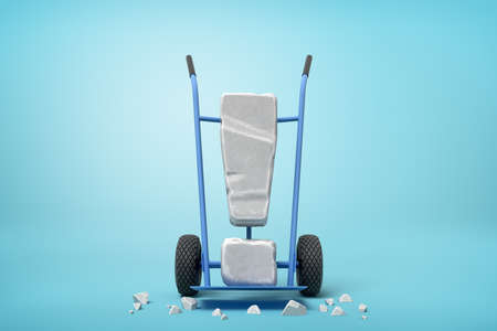 3d rendering of large stone exclamation mark on blue hand truck with big stone crumbs on ground on light-blue background.