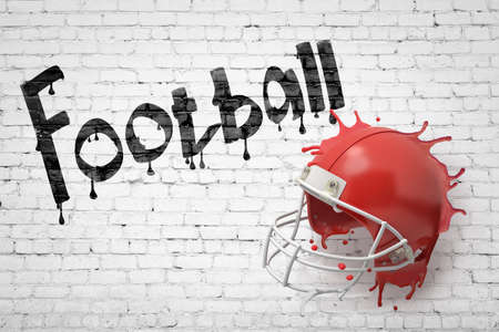 3d rendering of a red american football helmet splashing with Football sign on white brick wall background Banco de Imagens