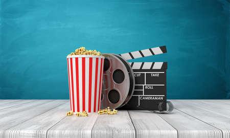 3d rendering of pop corn bucket, film reel, and clapperboard standing on wooden floor near blue wall. Banco de Imagens