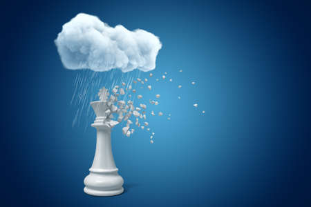 3d rendering of white chess king standing under raining cloud, upper part of chess piece dissolving in particles, on blue copy space background.