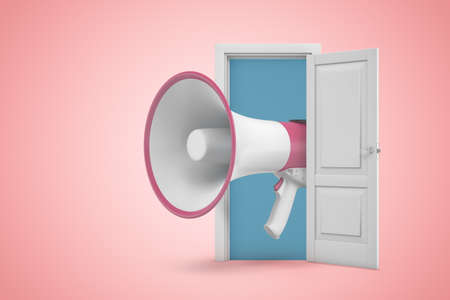 3d rendering of huge pink and white megaphone emerging from white door on pink gradient background.