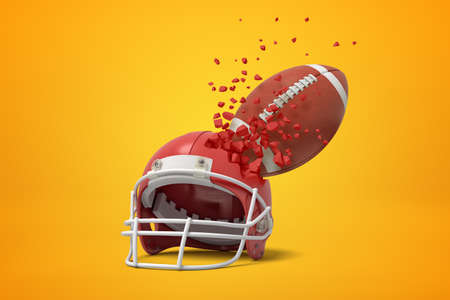 3d rendering of a red american football helmet and ball shattering into small pieces on yellow background