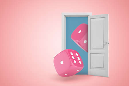 3d rendering of white open doorway with two pink casino dice on light pink background. Фото со стока - 130509701