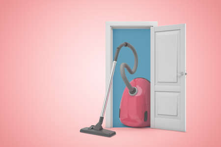 3d rendering of very big pink vacuum cleaner standing in doorway on pink gradient copyspace background.