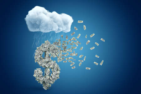 3d rendering of big dollar symbol formed with lots of banknotes that have already started to fly away, under raining cloud on blue gradient background.