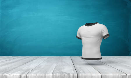 3d rendering of white close-fitting mens T-shirt with black edge piping, suspended in air above wooden surface on blue wall background.