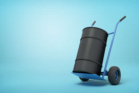 3d rendering of black barrel standing on top of blue hand truck on light-blue background.