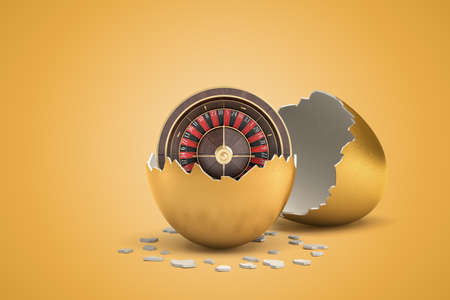 3d rendering of casino wheel that just hatched out from golden egg. Stockfoto