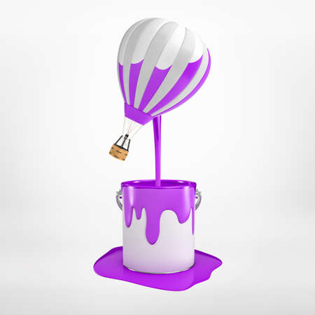 3d rendering of hot-air balloon thats been dipped in purple paint and is floating in air with half-colored stripes, paint dripping down, on light background. Stockfoto