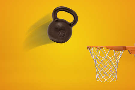 3d rendering of a 24 kg black kettlebell flying toward basketball hoop on amber background. Фото со стока