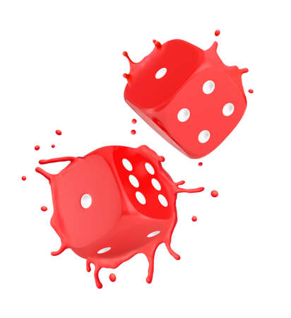 3d close-up rendering of two red melting dice splashing red plastic around isolated on white background. Фото со стока