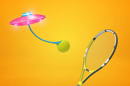3d rendering of pink UFO carrying tennis ball, flying against amber background with tennis racket in foreground.