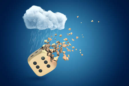 3d rendering of white rainy cloud above golden casino dice shattering into small pieces on blue background Фото со стока