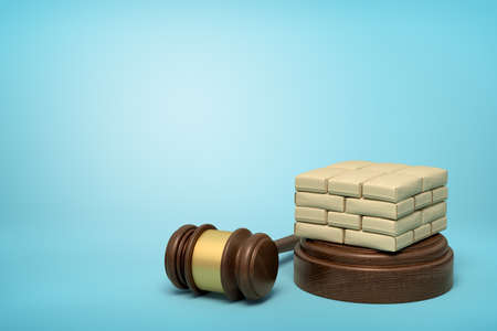 3d rendering of masonry work on round wooden block and brown wooden gavel on blue background