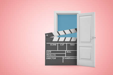 3d rendering of white open doorway with movie clapper on light pink background