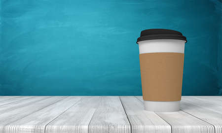 3d rendering of paper coffee cup on white wooden floor and dark turquoise background